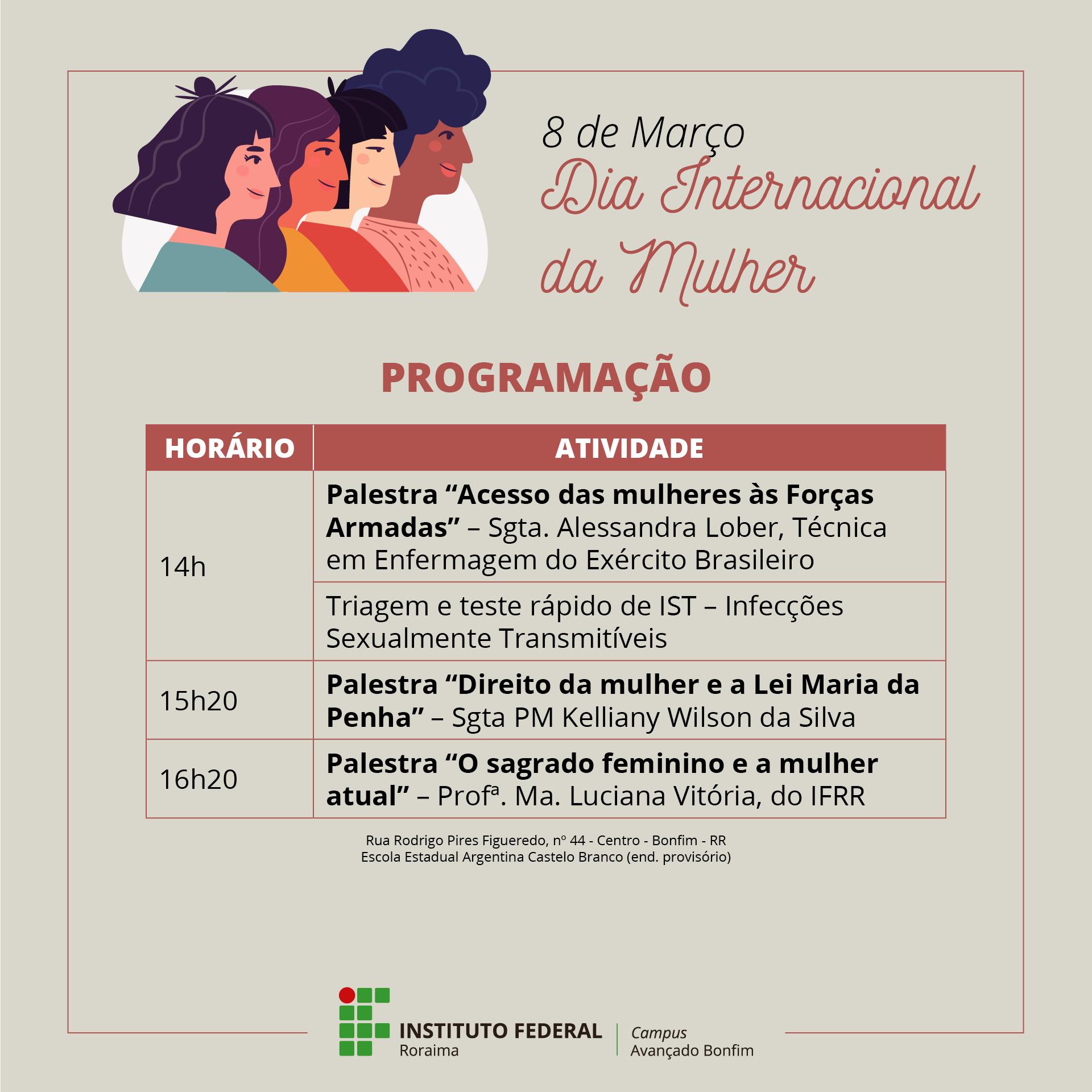 DIA INTERNACIONAL DA MULHER – Campus Avançado Bonfim celebra a data por meio de palestras e testes rápidos de IST